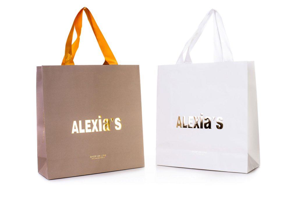 Χάρτινες Σακούλες Με Κορδόνι- Εκτυπωμένο με λογότυπο - ματ-μπεζ- λευκό- χρυσό τύπωμα